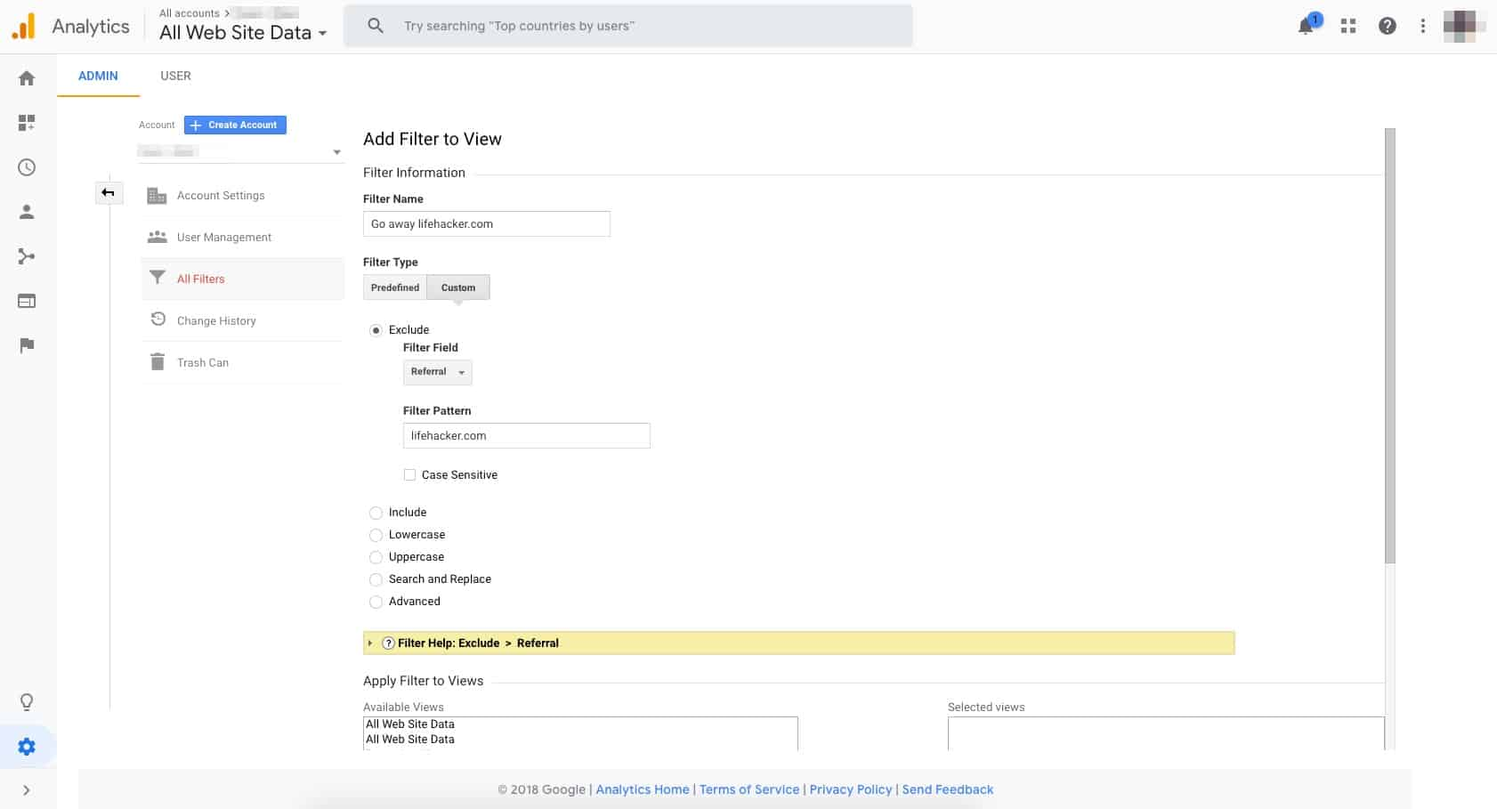 A screen capture of the Google Analytics admin portal, showing a detailed view of adding a filter.