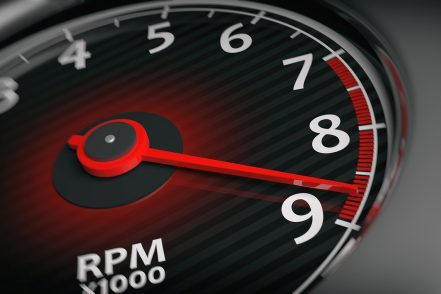 RPM meter set to max