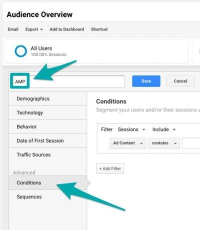 Add new AMP Segment Google Analytics