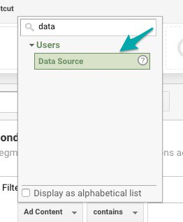 Choose Data Source Google Analytics Filter
