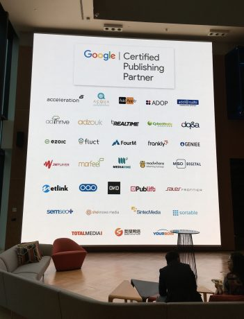 A slide containing the logos of various Google Certified Publishing Partners.