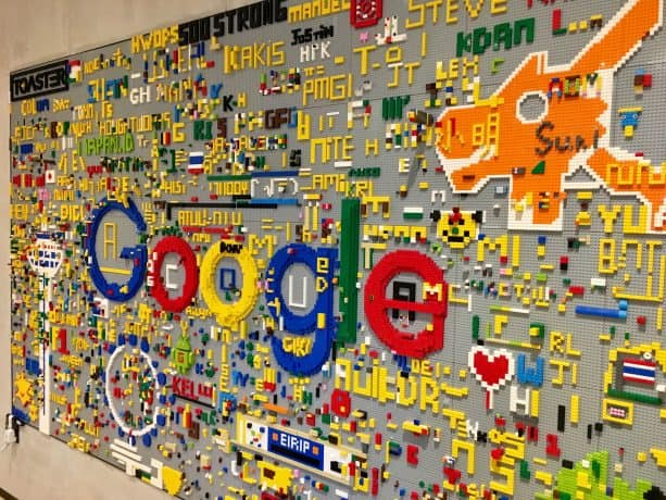 A Google sign built out of Legos at their corporate offices.