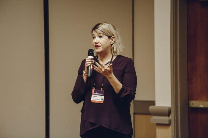 Jenny Guy, Mediavine Marketing Associate, speaking at the Outdoor Blogger Summit.