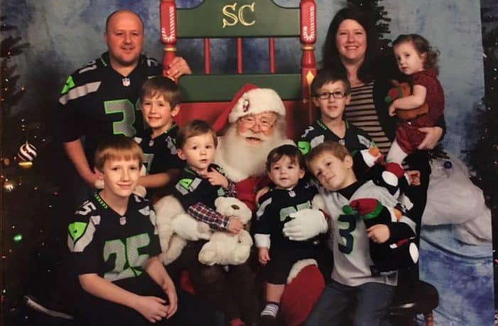 Mediavine Director of Publisher Support along with husband, seven children, and Santa.