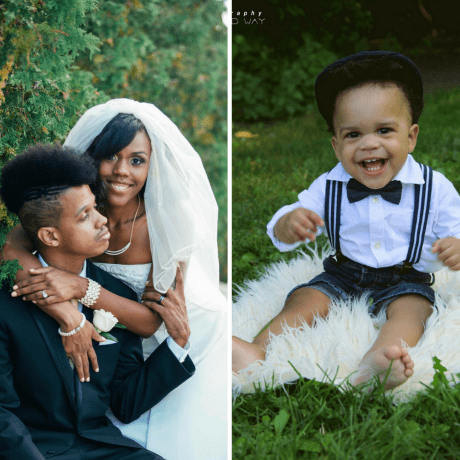 Latasha Peterson and husband on their wedding day (left), and her one year old son (right).