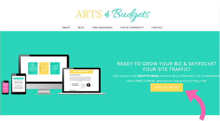 The welcome page for Latasha's blog, Arts & Budgets.