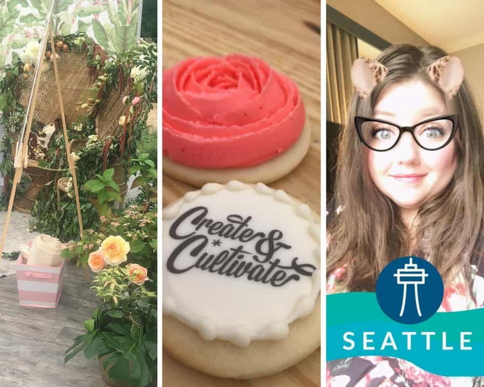 A collage of Create & Cultivate, featuring a photo backdrop, branded cookies, and a Seattle-themed selfie from Mediavine Publisher Support Director Nicole Johnson