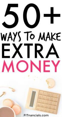 """Pinterest image - """"50+ ways to make extra money"""""""
