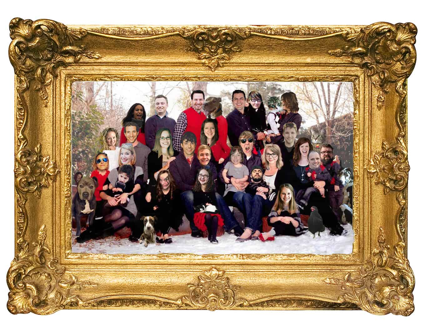 A photoshop of Mediavine team members' faces over a family Christmas photo.
