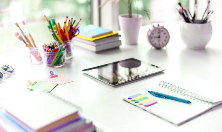 organized stationery on a desk.
