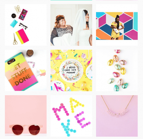 A collage depicting crafting projects, planners, fashion and food.