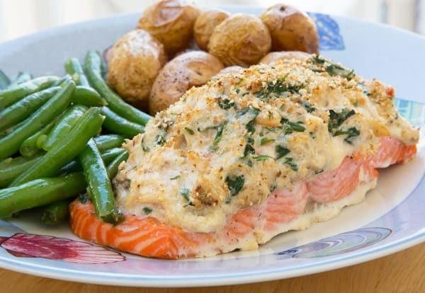 Stuffed Salmon with Cream Cheese and Crabmeat