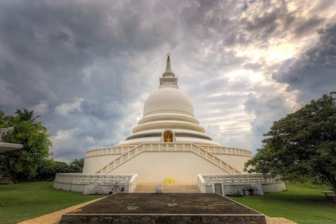 The Japanese Peace Pagoda in Mirissa, Sri Lanka.