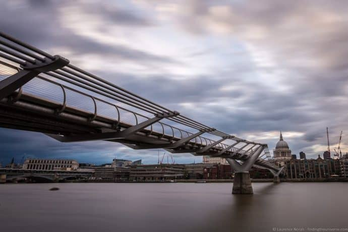 The Millennium Bridge in London, England.