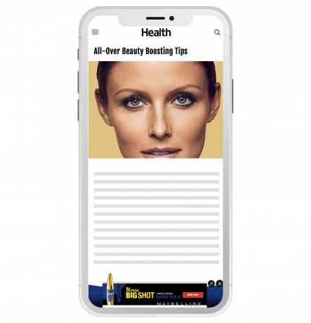 Mobile mockup of website running a mobile banner ad.