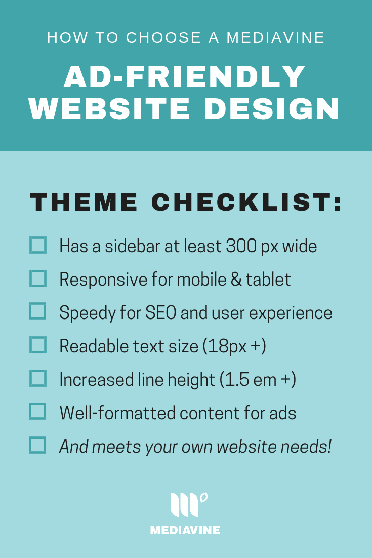 How to choose a Mediavine Ad-Friendly Website Design checklist.