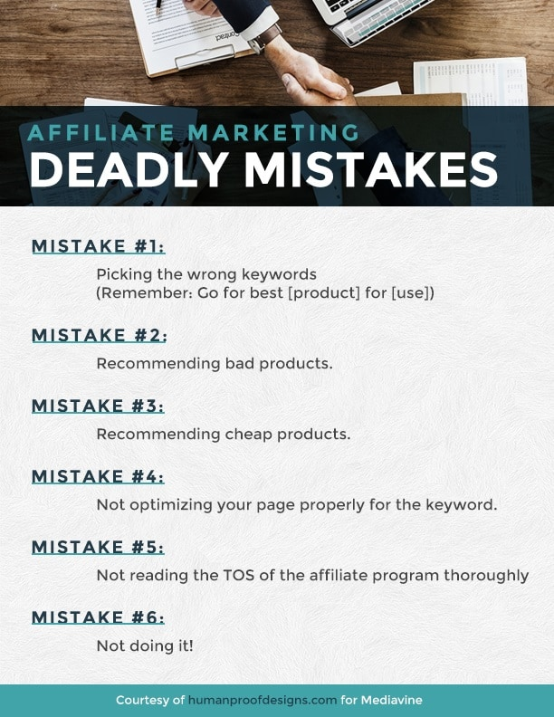 Affiliate Marketing Deadly mistakes infographic