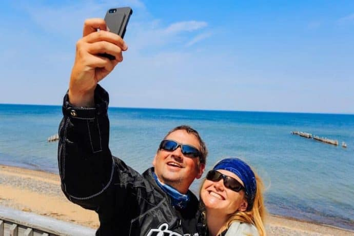 Deb and Dave snapping a selfie at the beach.