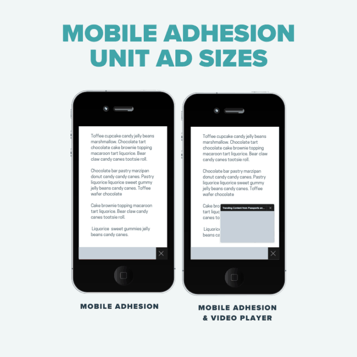 Mobile Adhesion unit ad sizes