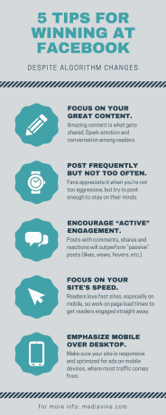 5 tips for winning at Facebook infographic