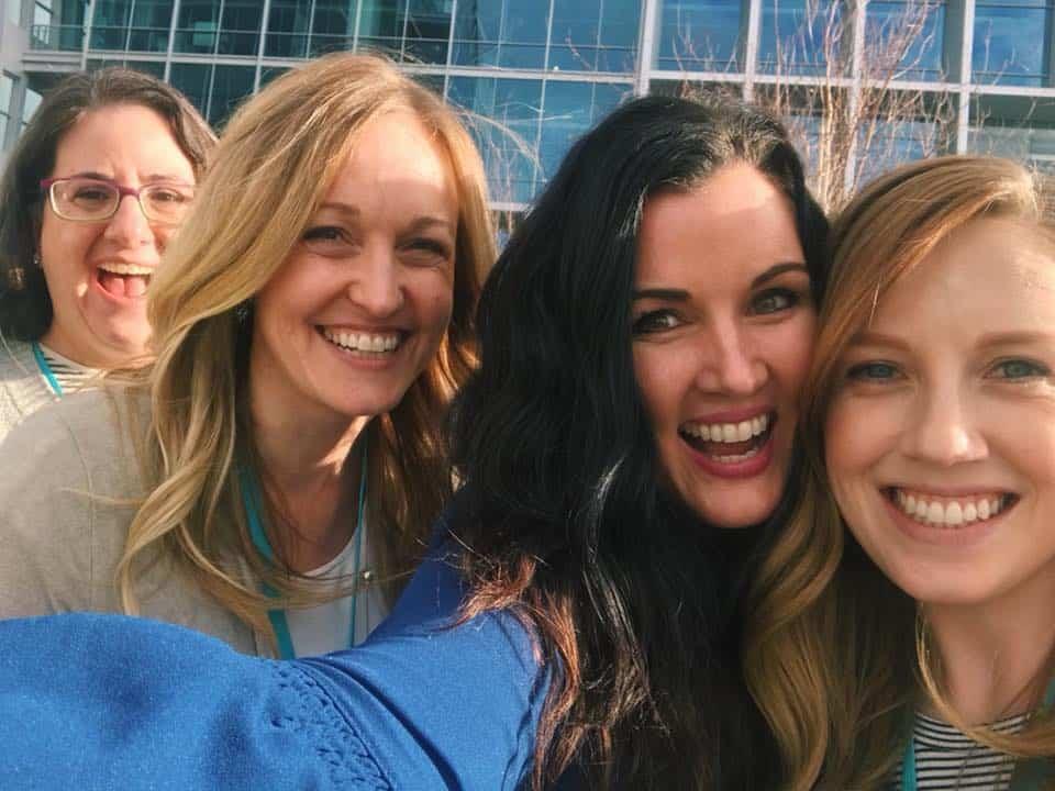 MVCon attendees take a selfie outside Google Mountain View HQ.