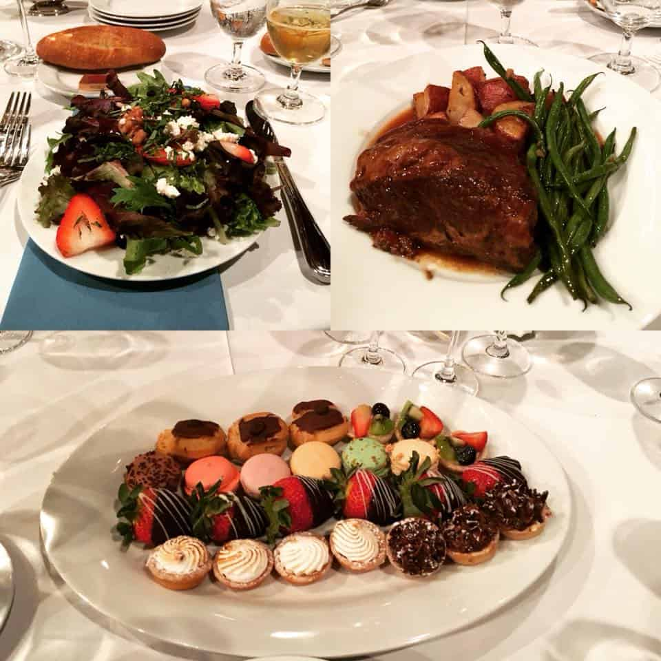 A sampling of different dinner options, from the salad, to the main course, to a dessert plate.
