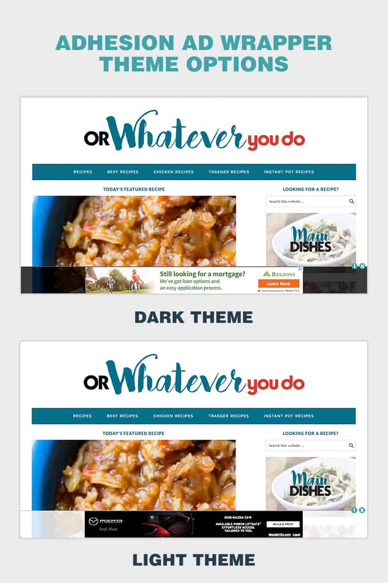 Adhesion ad wrapper theme options - Dark or Light