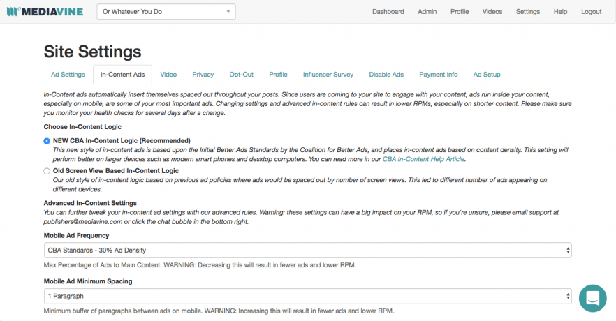 A screen capture of the Mediavine Dashboard showing the Site Settings section.