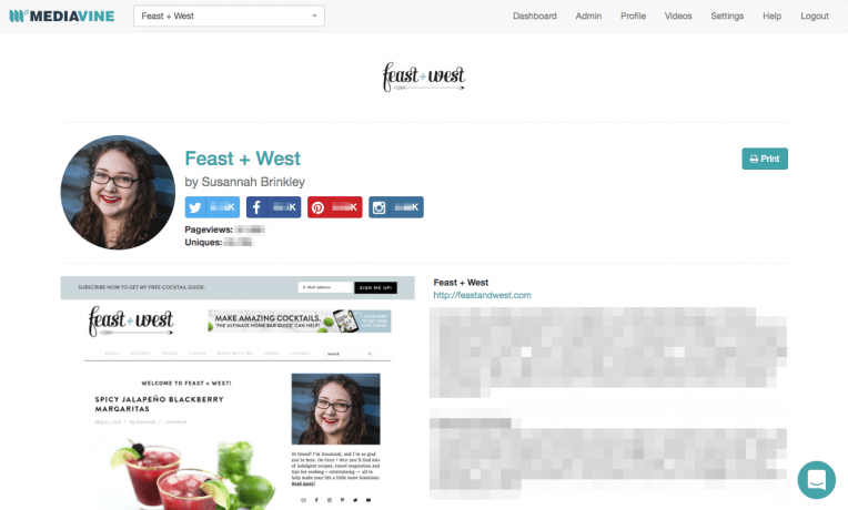 The Mediavine Dashboard home page for Feast + West.