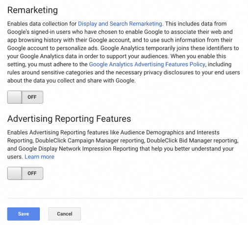 A screen capture of the Remarketing and Advertising Reporting Features sections in the Google Analytics admin panel
