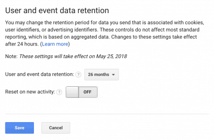 Screen capture of the user and event data retention section in in the Google Analytics admin panel.