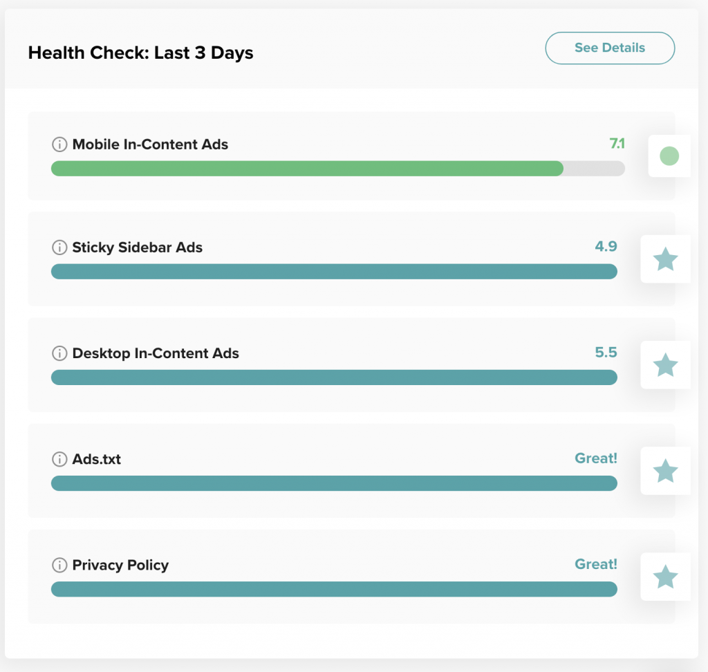 screenshot of site health that is almost all teal but needs a little improvement in the mediavine dashboard