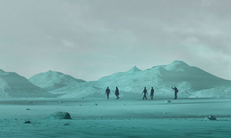 people walking on a teal planet