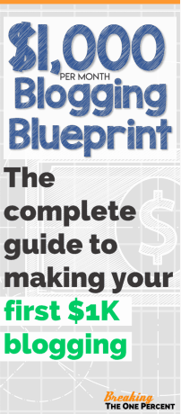image text: $1000 per month blogging blueprint. The complete guide to making your first $1k blogging