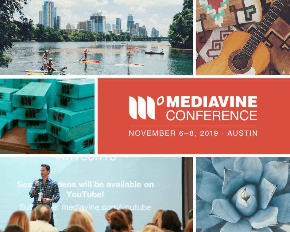 "A collage of Texan-themed items around a block of text reading ""Mediavine Conference - November 6 - 8, 2020 - Austin"""