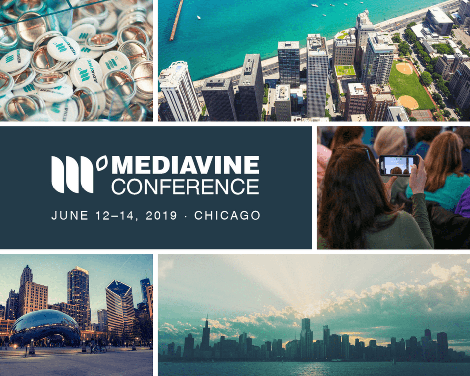 "A collage of Chicago landmarks, around a block of text reading ""Mediavine Conference - June 12  14, 2020 - Chicago"""