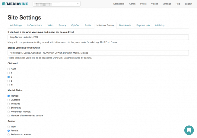 A screen capture of the Site Settings section of the Mediavine Dashboard.