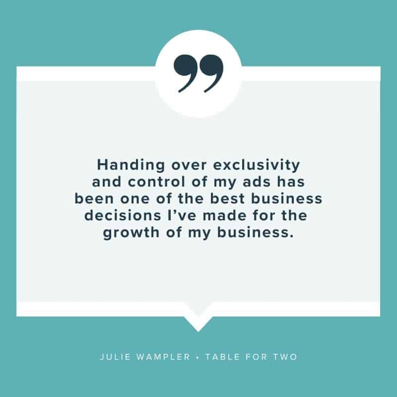 """Handing over exclusivity and control of my ads has been one of the best business decisions I've made for the growth of my business."" - Julie Wampler, Table for Two"