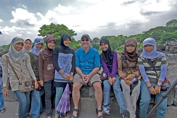 Gary visiting with locals from Prambanan, Indonesia.