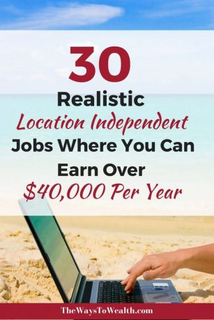 30 Realistic Location Independent jobs where you can earn over $40,000 per year - Pinterest image for TheWayToWealth.com