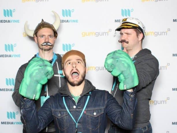 Mediavine Development Team members enjoy some photobooth shenanigans at MVCon.
