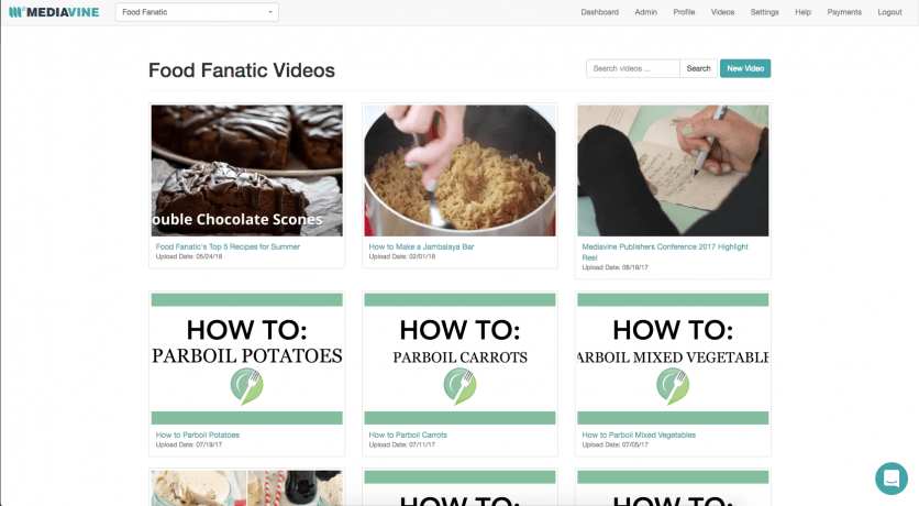 A screen capture of Food Fanatic's videos tab on the Mediavine Dashboard.