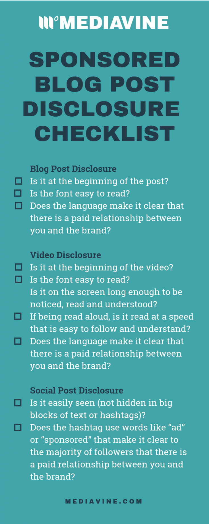 Learn how to disclose your sponsored work. Properly disclosing a relationship with a brand is really important. It establishes trust with readers. Not including a disclosure can break that trust and even result in fines if not done correctly, or at all.