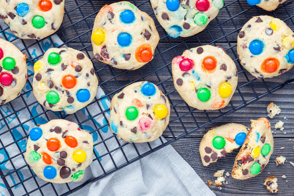 Colorful monster cookies.