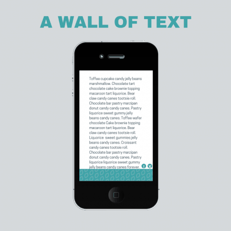 A wall of text graphic, showing a phone with a lot of text with no breaks.