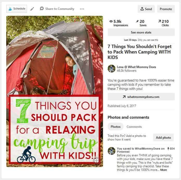 "A pin for ""7 things you should pack for a relaxing camping trip with kids"", showing a Tailwind schedulign button, and all pin details (impressions, saves, clicks, etc.)"