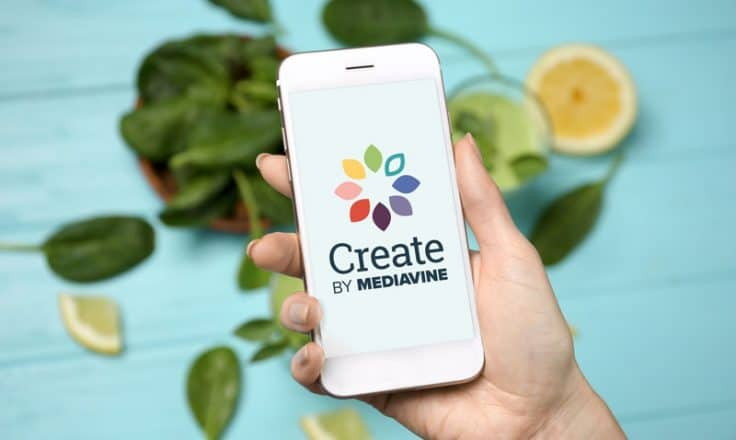 create logo on phone with food in background