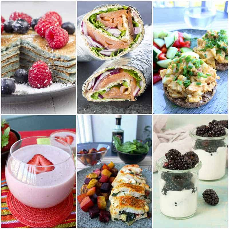 A collage of various foods - pancakes with berries, a lunch wrap, hors d'oeuvres, and soo on.