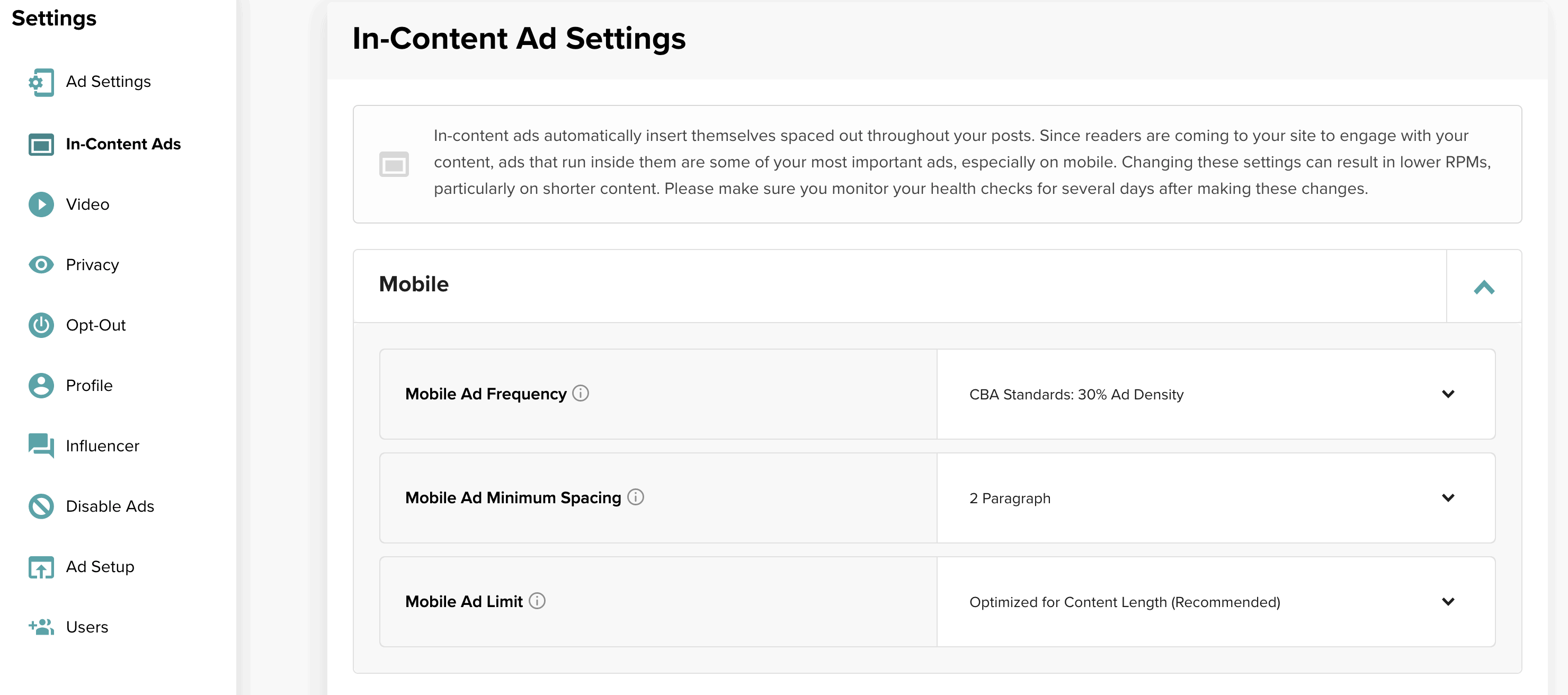 Screenshot of In-Content Ad Settings page in the Mediavine Dashboard