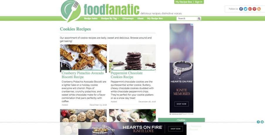 A screen capture of Food Fanatic.